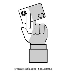 hand with credit card icon over white background. mobile payments concept. vector illustration