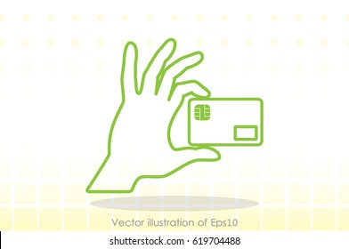 Hand and credit card icon vector