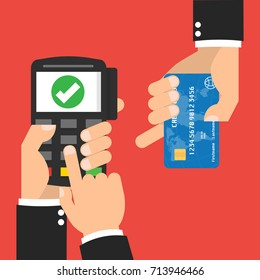 Hand with credit card and hand with POS terminal with successful