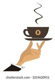 Hand with a cup of coffee illustration isolated vector