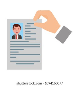 hand with curriculum vitae and photo of man isolated icon