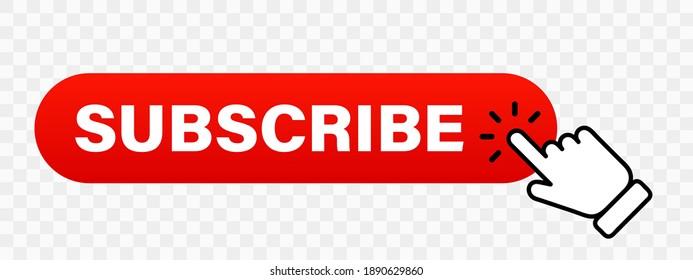 Hand cursor clicking on red subscribe button. Subscribe button. Hand pointer icon. Subscription service. Social media concept. Streaming video. Play button vector icon. Vector graphic. EPS 10