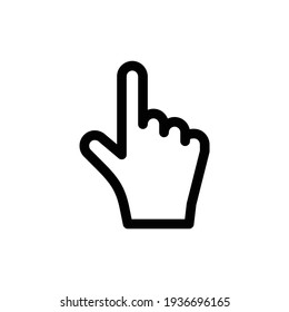 Hand cursor icon click. Hand click icon. Finger pointer isolated vector. Clicker, Pointer Hand Line Icon. Editable Stroke. Pixel Perfect. For Mobile and Web.