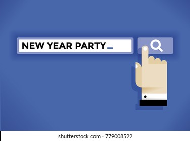 Hand cursor icon finding a New Year celebration party in internet. Idea - New Year Eve and Christmas holidays, online relationships and communications, social networking, solitude and loneliness etc.