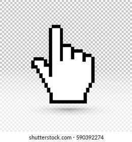 Hand cursor icon. Vector illustration EPS 10. Flat design. Isolated on transparent background
