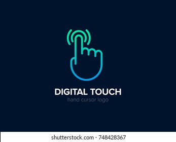 Hand Cursor logo concept. Digital Touch logotype. Vector Click icon. Screen Tap symbol. Linear style Creative vector logo. Modern mobile technology sign. Graphic Emblem for Corporate Business Identity
