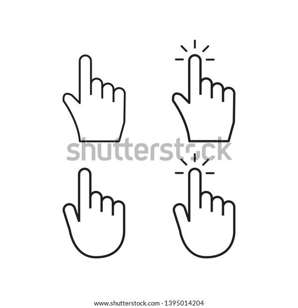 hand cursor mouse pointer icon vector logo template