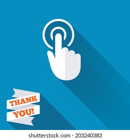 Hand cursor sign icon. Hand pointer symbol. White flat icon with long shadow. Paper ribbon label with Thank you text. Vector
