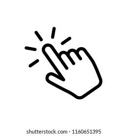 Hand cursor vector icon, clicking pointer