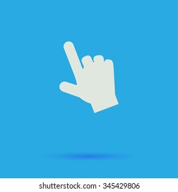 hand cursor White flat vector simple icon on blue background with shadow