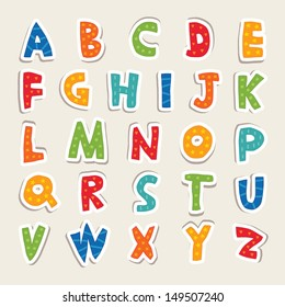 Hand cut vector alphabet sticker set in bright vintage colors. Good for scrap booking, school projects, posters, textiles. See my folio for JPEG version and for more alphabets.