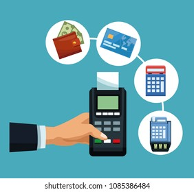 Hand with dataphone and bank symbols