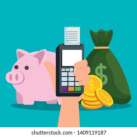 hand with dataphone and invoice with money bag and piggy