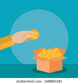 hand depositing bitcoin in cryptocurrency box money finance flat design vector illustration