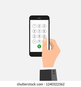 Hand is dialing number on the phone. Flat vector concept illustration of male hand and smartphone. Businessman touching buttons with numbers on the mobile phone screen to make a phone call.