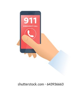 A hand dials 911 number on the phone. Emergency calling, technology, smart phone, 911 support and first aid service flat concept illustration. Vector design element isolated on white background.