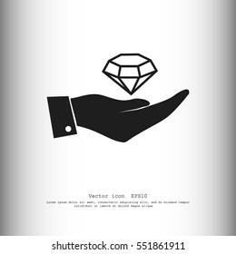 Hand with diamond icon