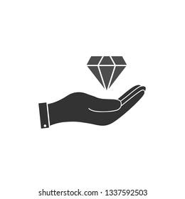 Hand and diamond icon. Vector illustration, flat design.
