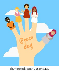 hand with diversity people doll on finger, peace day concept, vector illustration in flat style