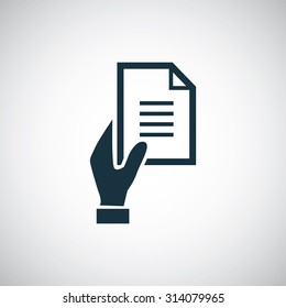 hand document icon, on white background