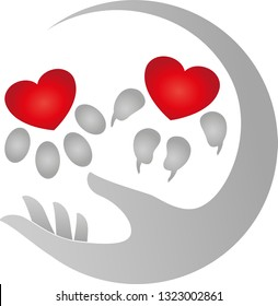 Hand with dog paw and cat paw logo