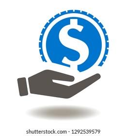 Hand dollar coin icon vector. Give money cash logo. Economy finance symbol.