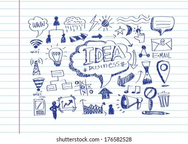 Hand doodle Business website icon set idea design on paper notebook background