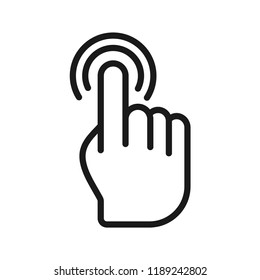 Hand double click icon. Flat simple design. Line Vector. Isolate on white background.