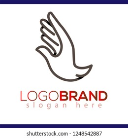 hand dove line art logo icon vector