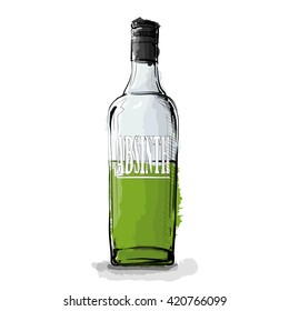 Hand draw of Absinth. Vector illustration.