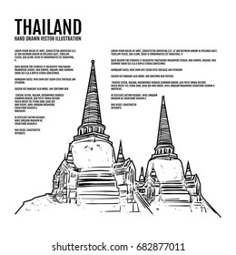 Hand draw Ayutthaya Historical Park, Temple Pagoda in Ayutthaya, Thailand tourism, Amazing thailand