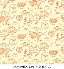 Hand draw background design for Taiwan's street foods. seamless pattern design. include Beef Noodles, Intestine and Oyster Vermicelli, Stinky Tofu and Chicken Cutlet, Soup Dumplings, Minced Pork Rice.