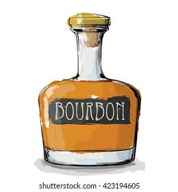 Hand draw of Bourbon bottle. Vector illustration.