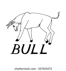 hand draw bull style sketch on stock illustration 341779079