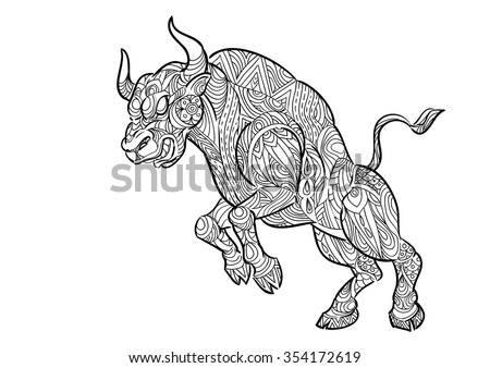 hand draw bull zentangle style stock vector royalty free 354172619