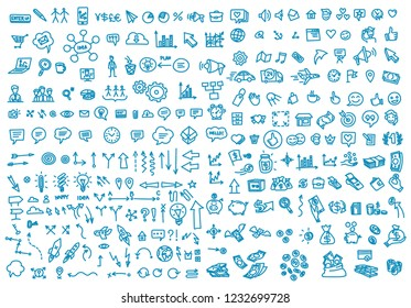 Hand draw business activity set doodle. Business ideas presentation. Background blue color