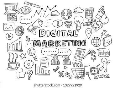 Hand draw business doodles digital marketing,Drawn in black ink on white background