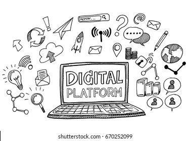 Hand draw business doodles digital platform,Drawn in black ink on white background