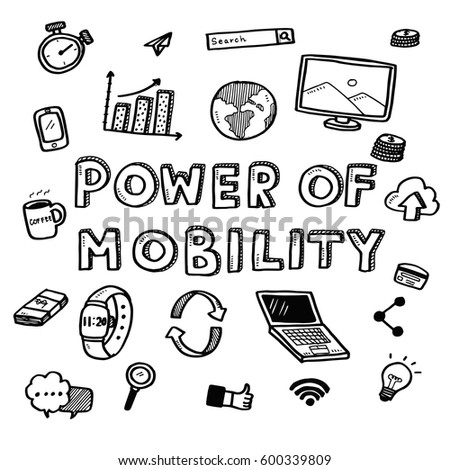 Hand Draw Business Doodles Power Mobility Stock Vector Royalty Free