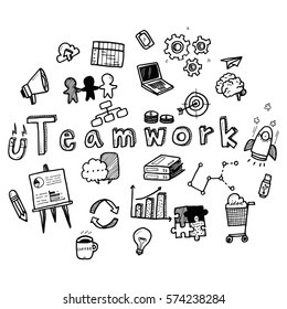 Hand draw business doodles with varieties of business icons and words set on white background.Concept for business idea,startup and innovation technology.Doodle art collection.