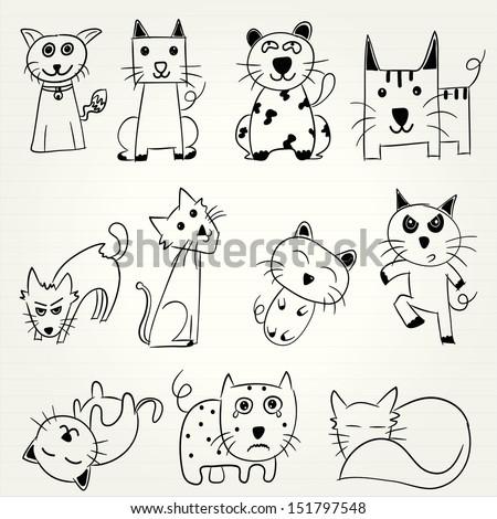 Hand Draw Cartoon Cat Icon Stock Vector Royalty Free 151797548