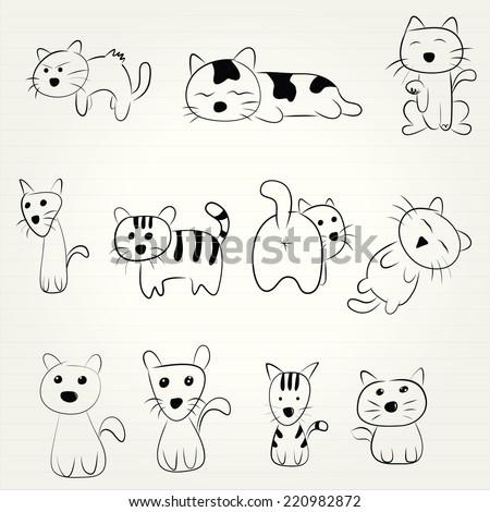 Hand Draw Cartoon Cat Icon Stock Vector Royalty Free 220982872