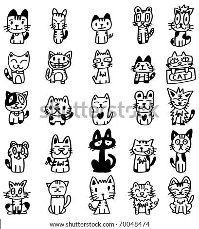Hand Draw Cartoon Cat Icon Stock Vector Royalty Free 70048474