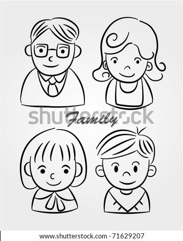 hand draw cartoon family icon stock vector royalty free 71629207 Bitmojis Mixed Girl hand draw cartoon family icon