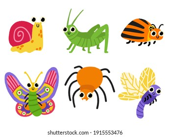 Hand draw cartoon insects illustration. Cute bugs.Snail, locust, spider, colorado potato beetle, butterfly, stag for children vector illustration.Funny garden animals. Cute colorful doodle.
