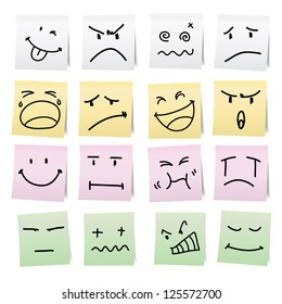 Hand draw cartoon on paper note stickers.eps10
