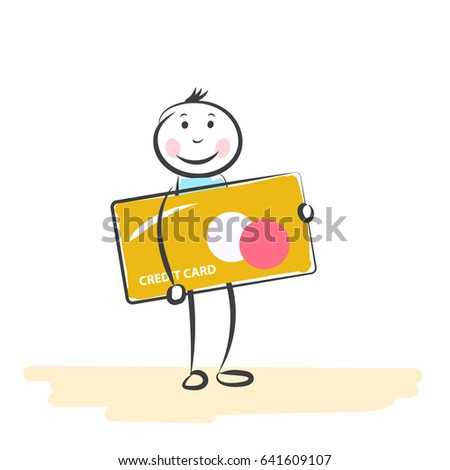 Hand Draw Cartoon People Credit Card Stock Vector Royalty Free
