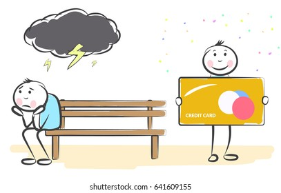 hand draw cartoon people holds credit card and the other sits annoyed. Doodle miniature scenes. Hand drawn vector illustration for web design and infographic.