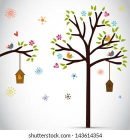 Hand draw cartoon tree