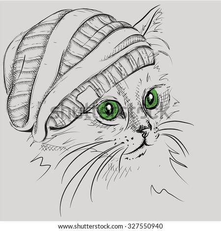 Hand Draw Cat Hat Vector Illustration Stock Vector Royalty Free